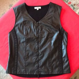 Graffiti Vegan Leather Black Vest